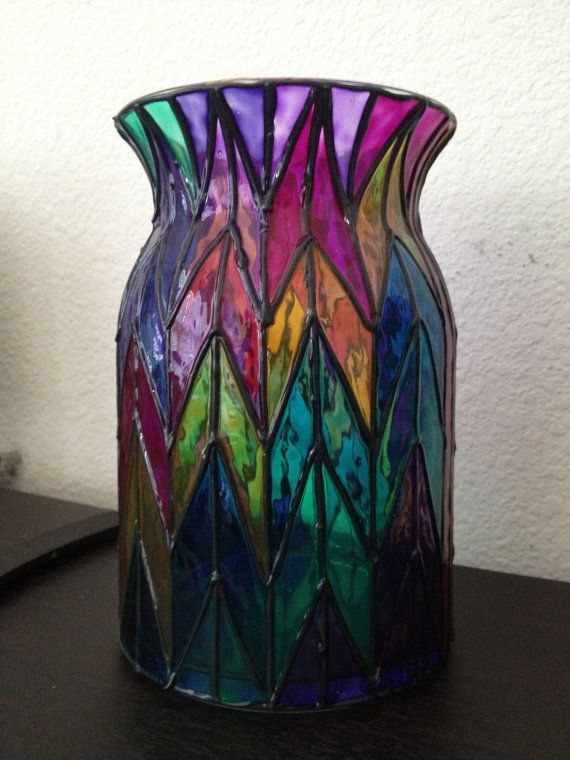 Large Chevron Style Multi Colored Glass Vase Hand Painted Stained