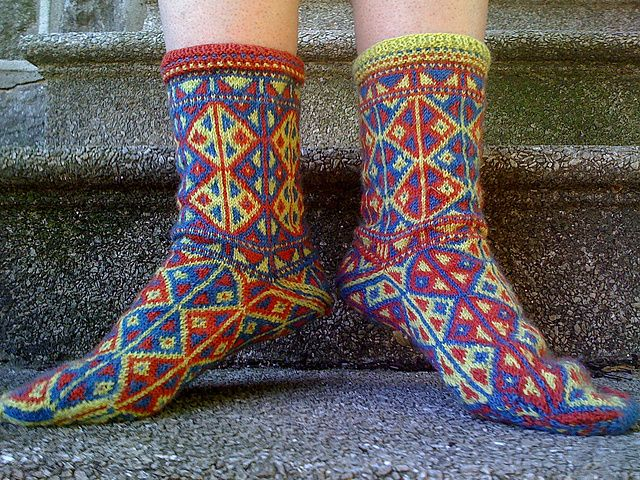 Knitting Pattern For Small Socks : Turkish design. Ravelry: Project Gallery for Kilim Socks pattern by Abby Ramm...
