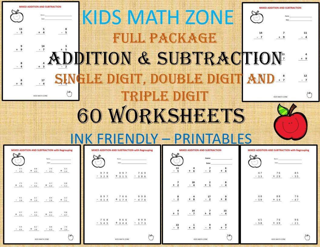 Addition Subtraction 60 Printable Worksheets With Single Etsy Addition And Subtraction Worksheets Math Workbook Kids Math Worksheets [ 816 x 1056 Pixel ]