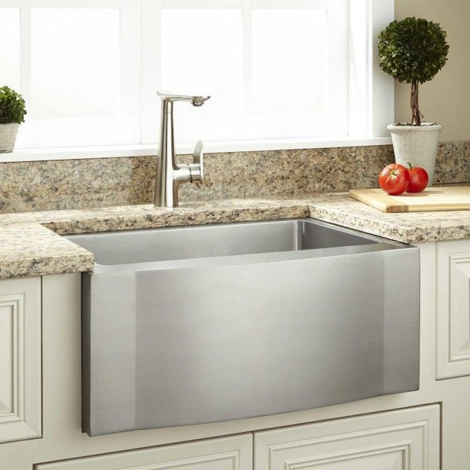 24 Ackerman Stainless Steel Farmhouse Sink In Wave Apron