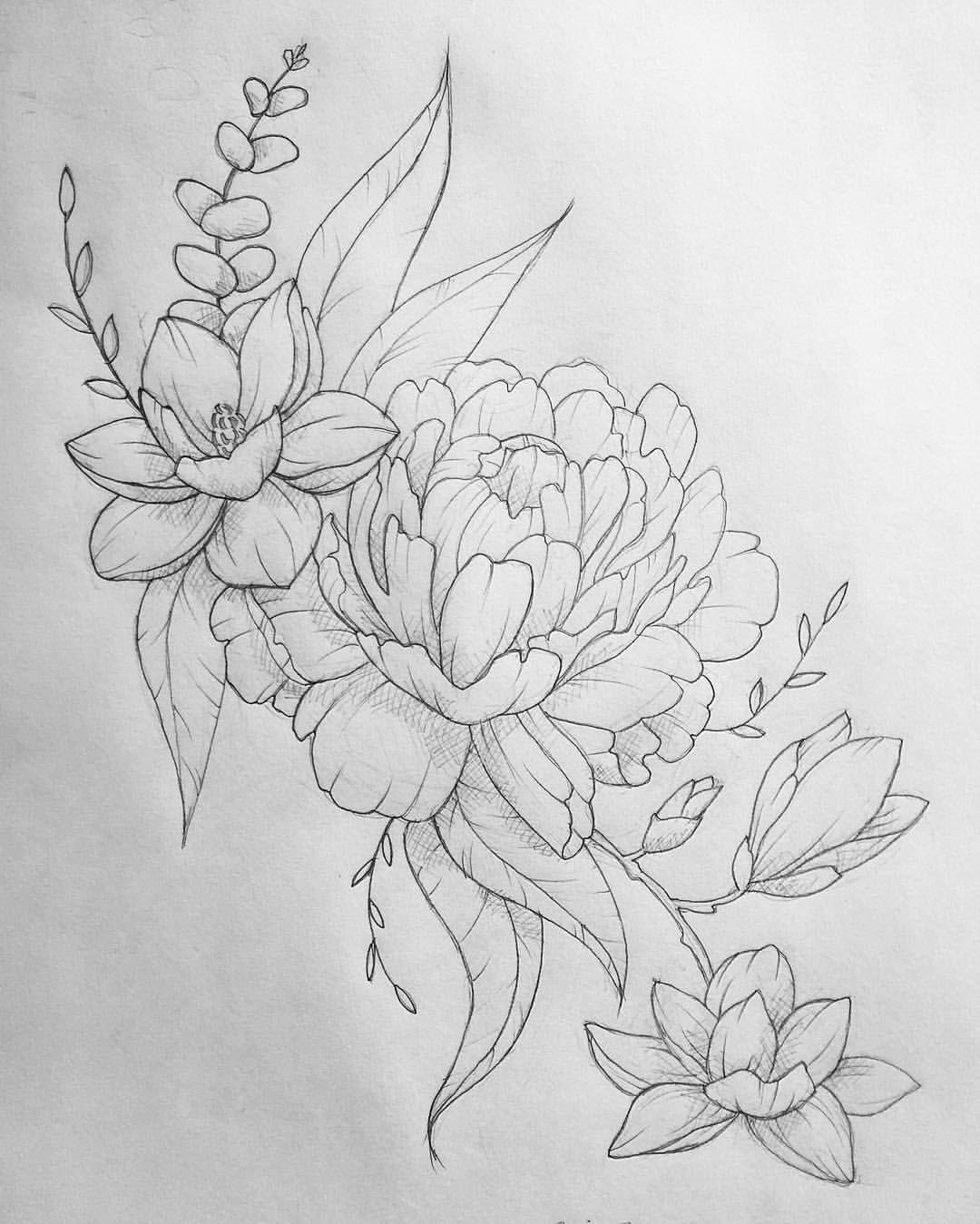 Another One Done Tattoo Peonytattoo Peony Eucalyptus Magnolia Magnoliatattoo Flash Linedrawing Picture Tattoos Shoulder Cap Tattoo Half Sleeve Tattoo