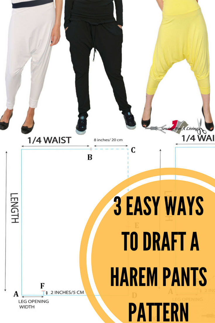 3 Easy Ways To Draft a Harem Pants Pattern | Sewing Tutorials, Tips ...