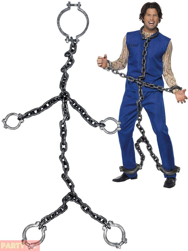 Adults Convict Chains Halloween Prisoner Shackles Fancy Dress Costume Accessory