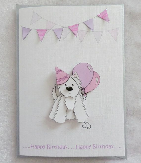 Party Westie Birthday Card In Pink Lilac Colored Envelopes