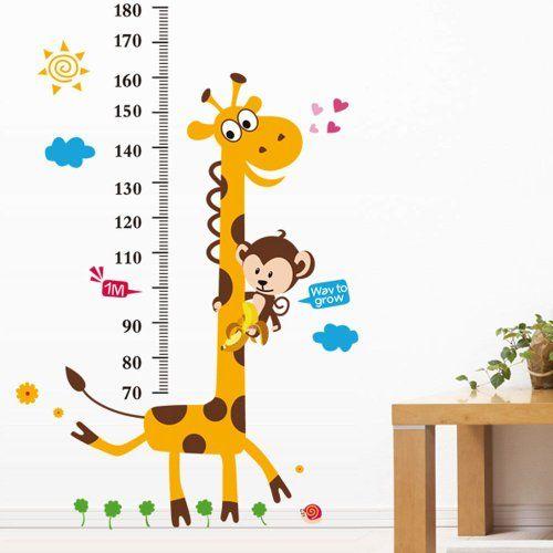 Cuadro De Altura Animales Mono Jirafa Selva Pegatinas De Pared Guardería Calcomanía de habitación de bebé