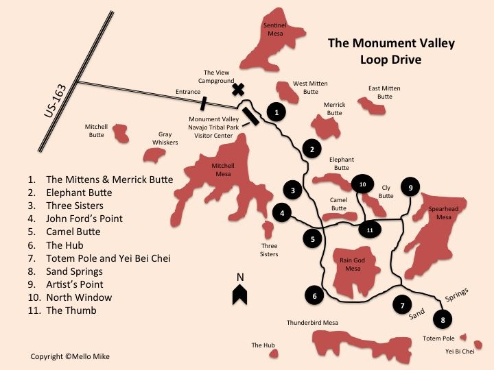 Monument Valley Loop Drive Map