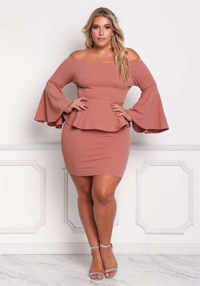 Plus Size Clothing | Plus Size Off Shoulder Peplum Bell Sleeve Top ...