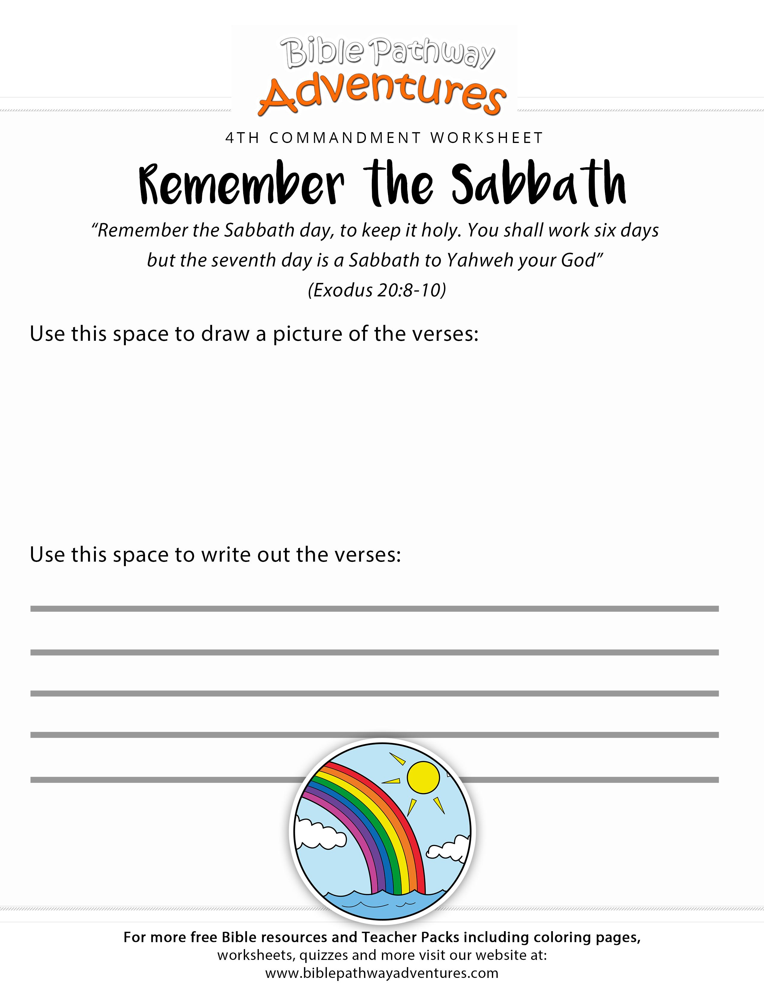 Ten Commandments Worksheet Remember The Sabbath
