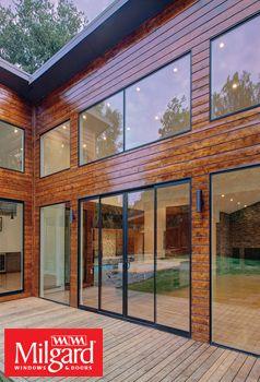 black framed sliding patio doors and