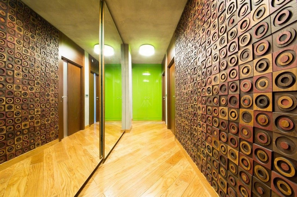 Modern-Apartment-corridor-with-circle-motifs-wood-carving-wall ...