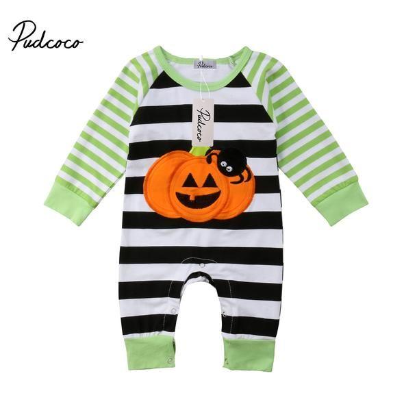 Baby Boys Girls Outfit Set Long Sleeve Cartoon Halloween Pumpkin Face Romper with Hat