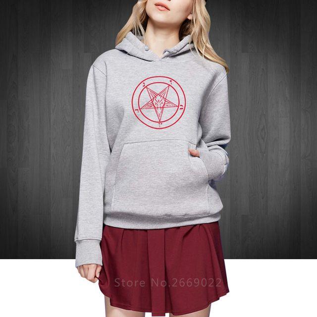 PENTAGRAM GOTHIC OCCULT SATAN new Women Hoodies Pullover fashion cotton Lady Sweatshirts Round collar Free Shipping
