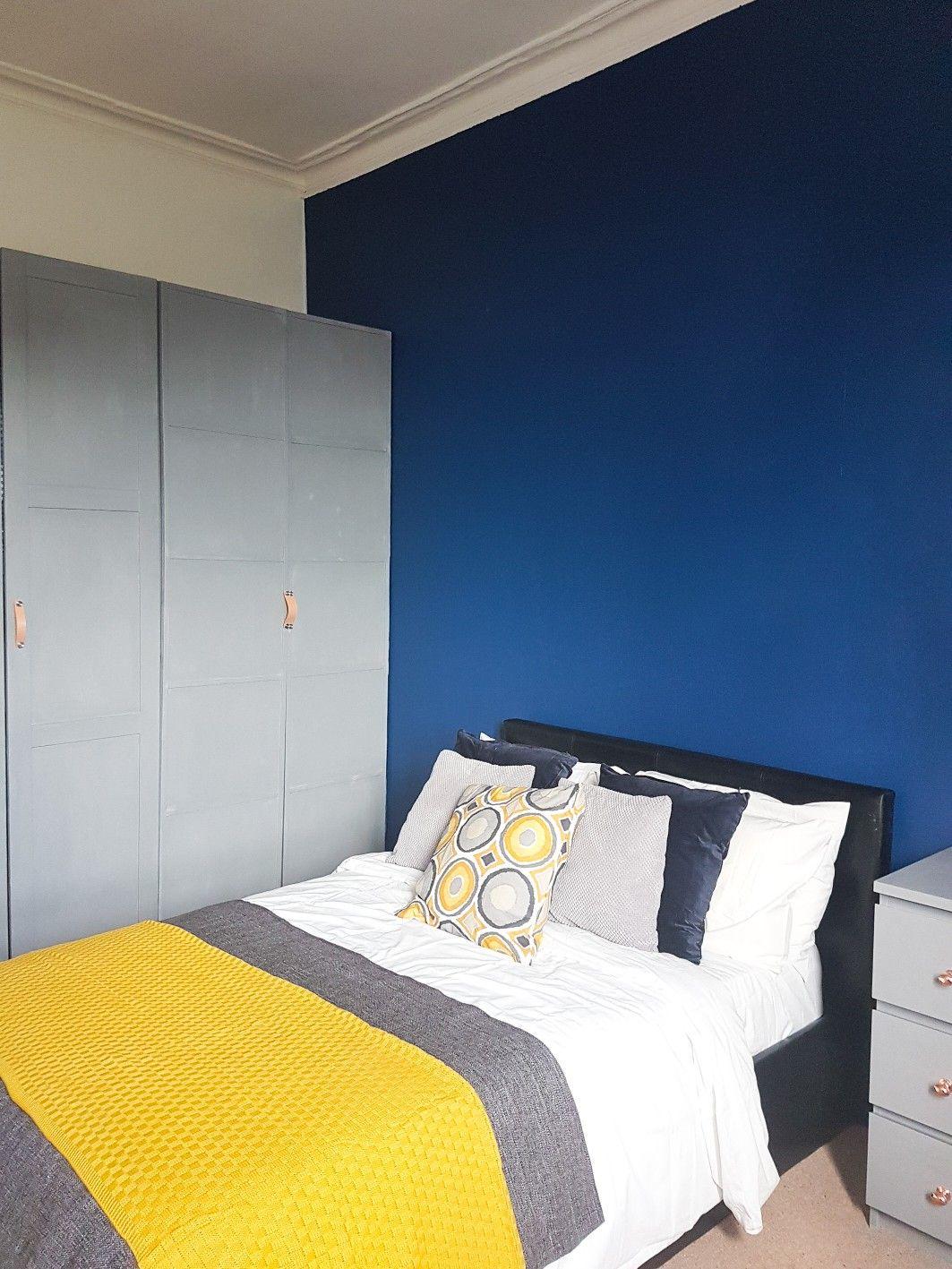 navy grey and mustard inspired bedroom  bedroom