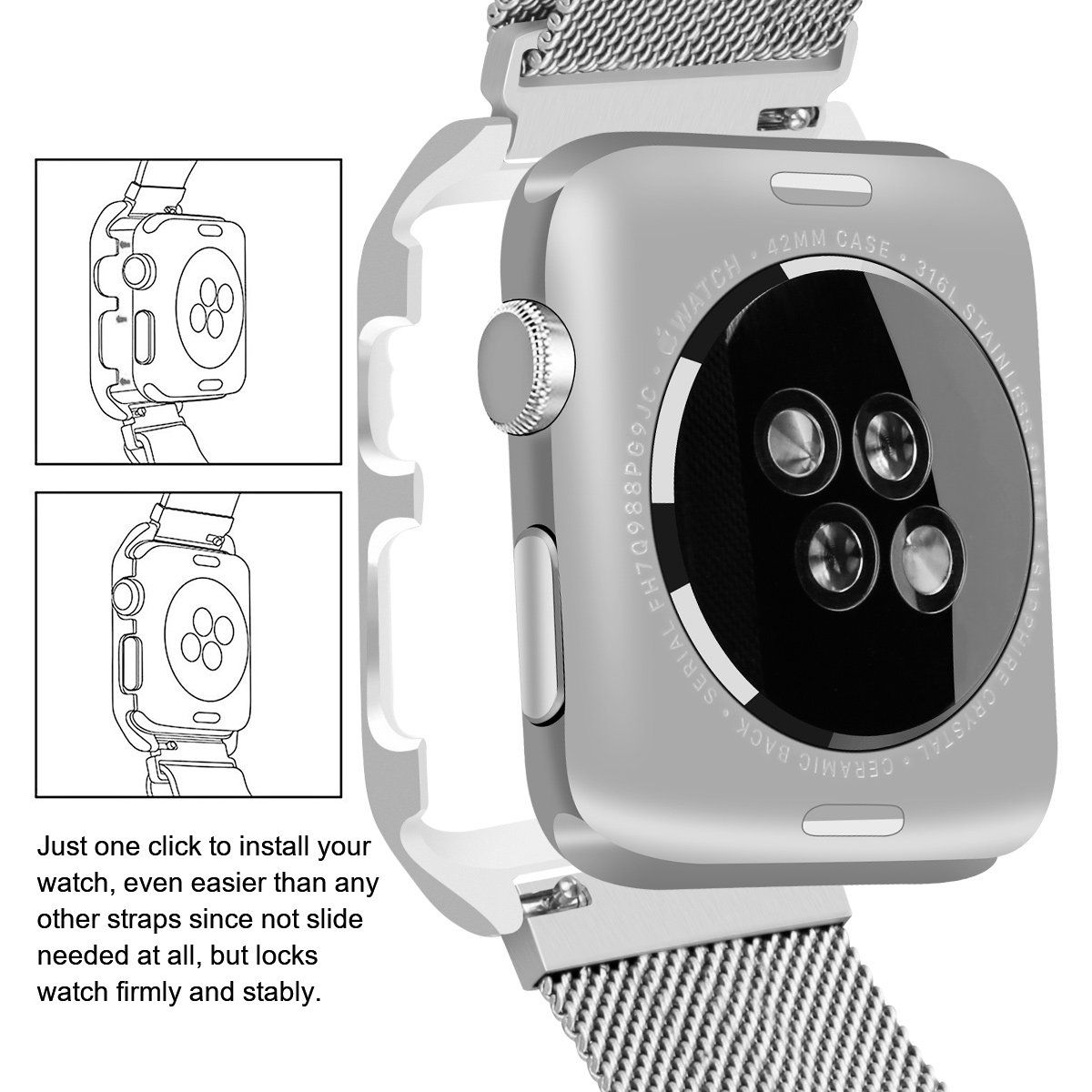 LKEITY Compatible for Apple Watch Band Series 1/2/3/4 42mm