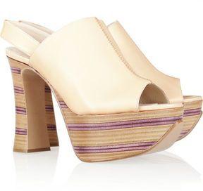 891c6f89965 Kinda groovy :) Chloé Striped wooden heel leather platform sandals ...