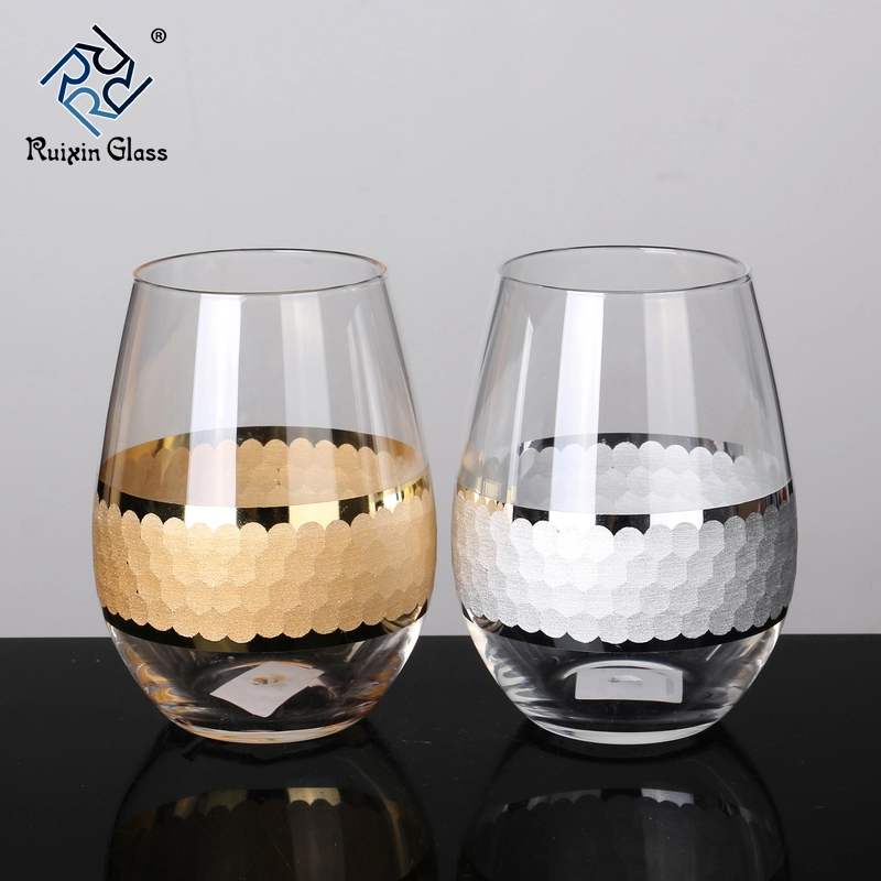 W121 New Design Top Quality Personalized Stemless Wine Glass Etched View Stemless Wine Glass Etched Rui Etched Wine Glasses Wine Glass Wholesale Wine Glasses