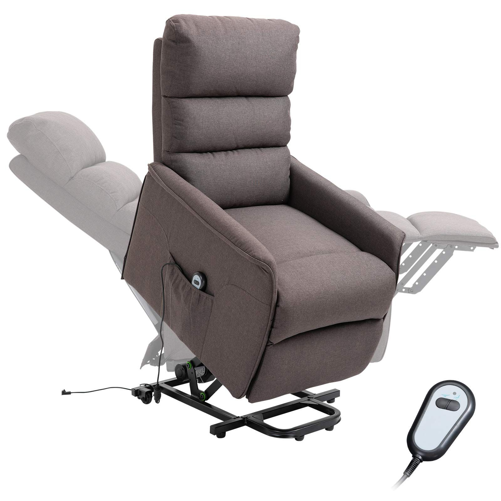 Homcom Power Lift Assist Recliner Chair For Elderly With Wheels