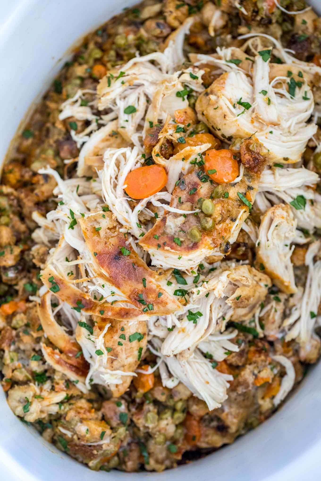 Crockpot chicken and stuffing is super easy to make