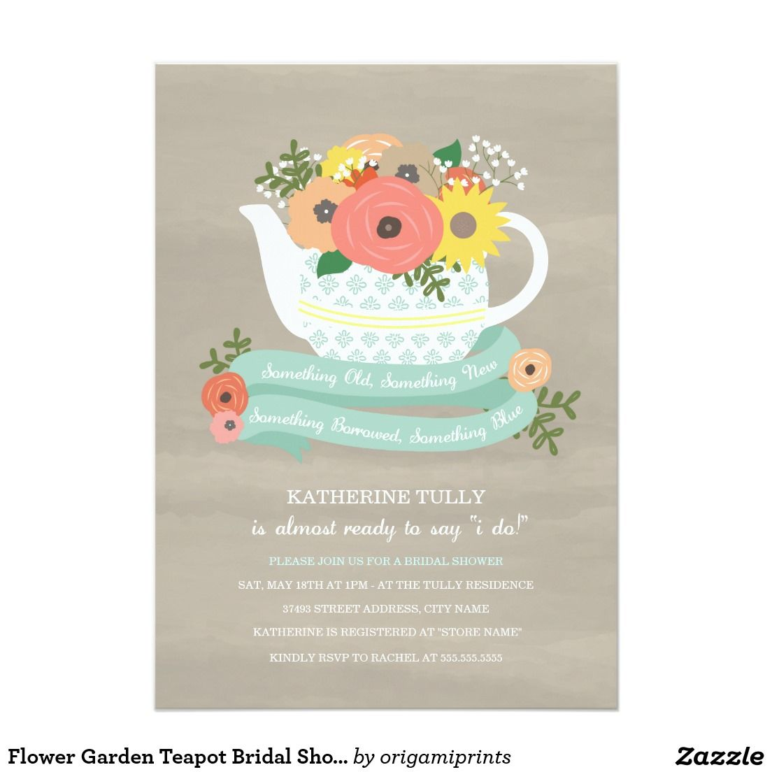 Flower garden teapot bridal shower invitation shower invitations flower garden teapot bridal shower invitation filmwisefo Gallery