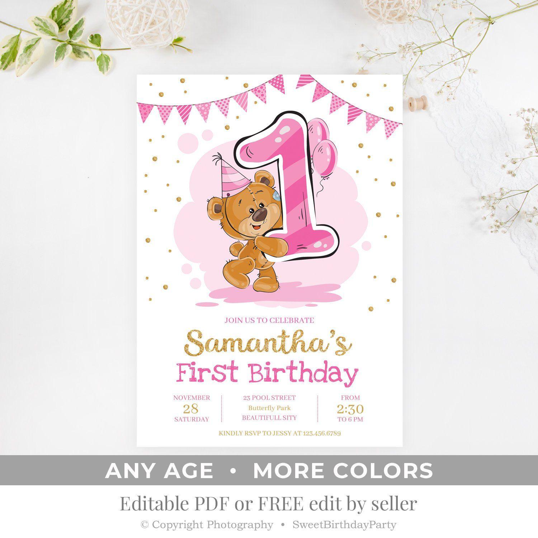 Printable Birthday Invitation Editable Teddy Pink And Gold Invite Any Age Mo Bear Invitations Printable Birthday Invitations Teddy Bear Birthday Invitations