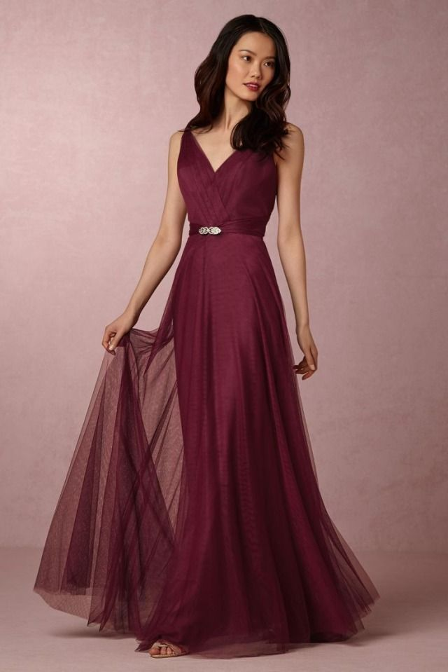 Red Bridesmaid Dress Zaria In Black Cherry From Bhldn