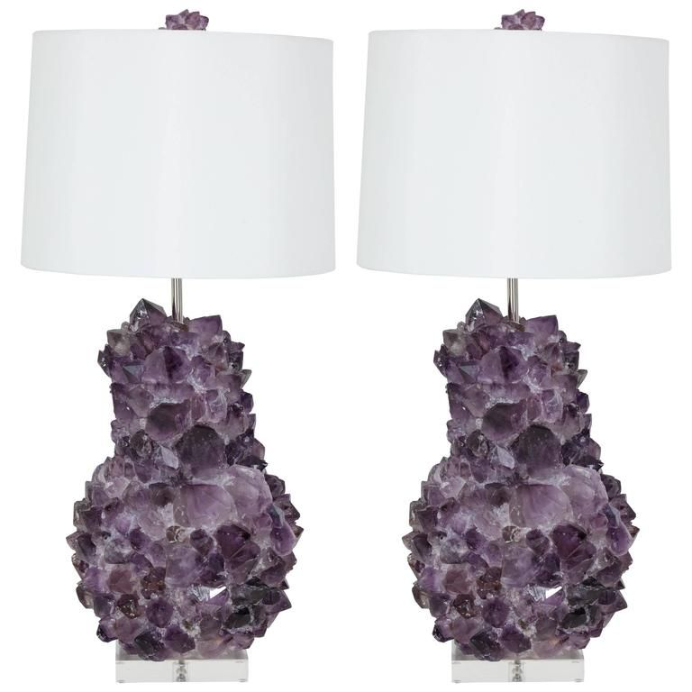 Pair Of Faceted Amethyst Quartz Crystal Lamps Crystal Lamp Amethyst Quartz Crystal Crystal Lamp Base