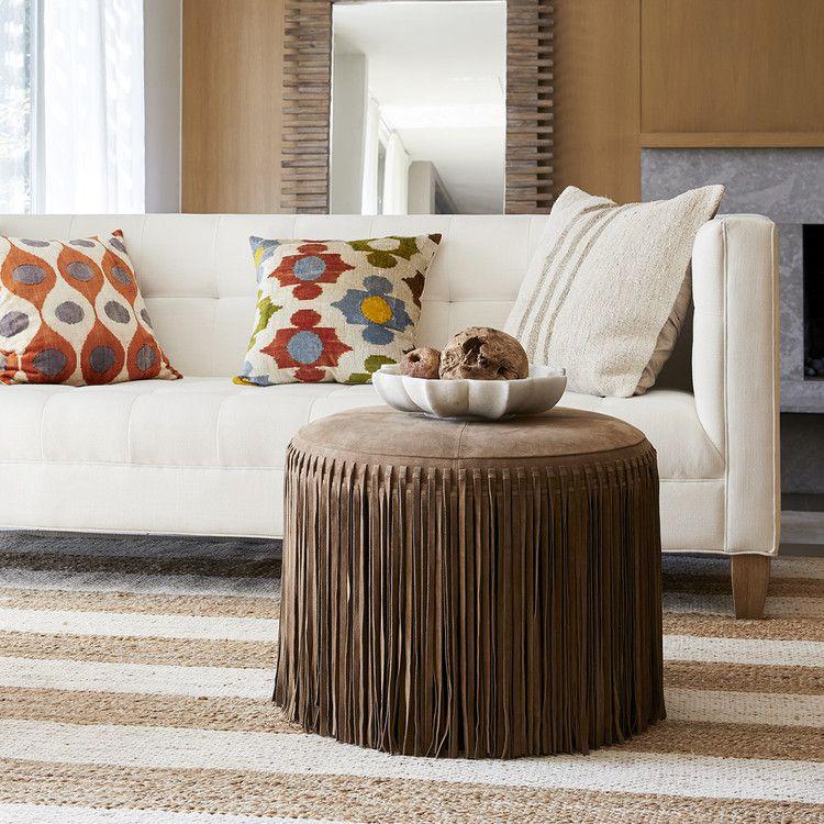Suede Boho Ottoman Furniture Living Room Stools Ottomans Wisteria Living Room Stools Furniture Decor #ottoman #coffee #tables #living #room
