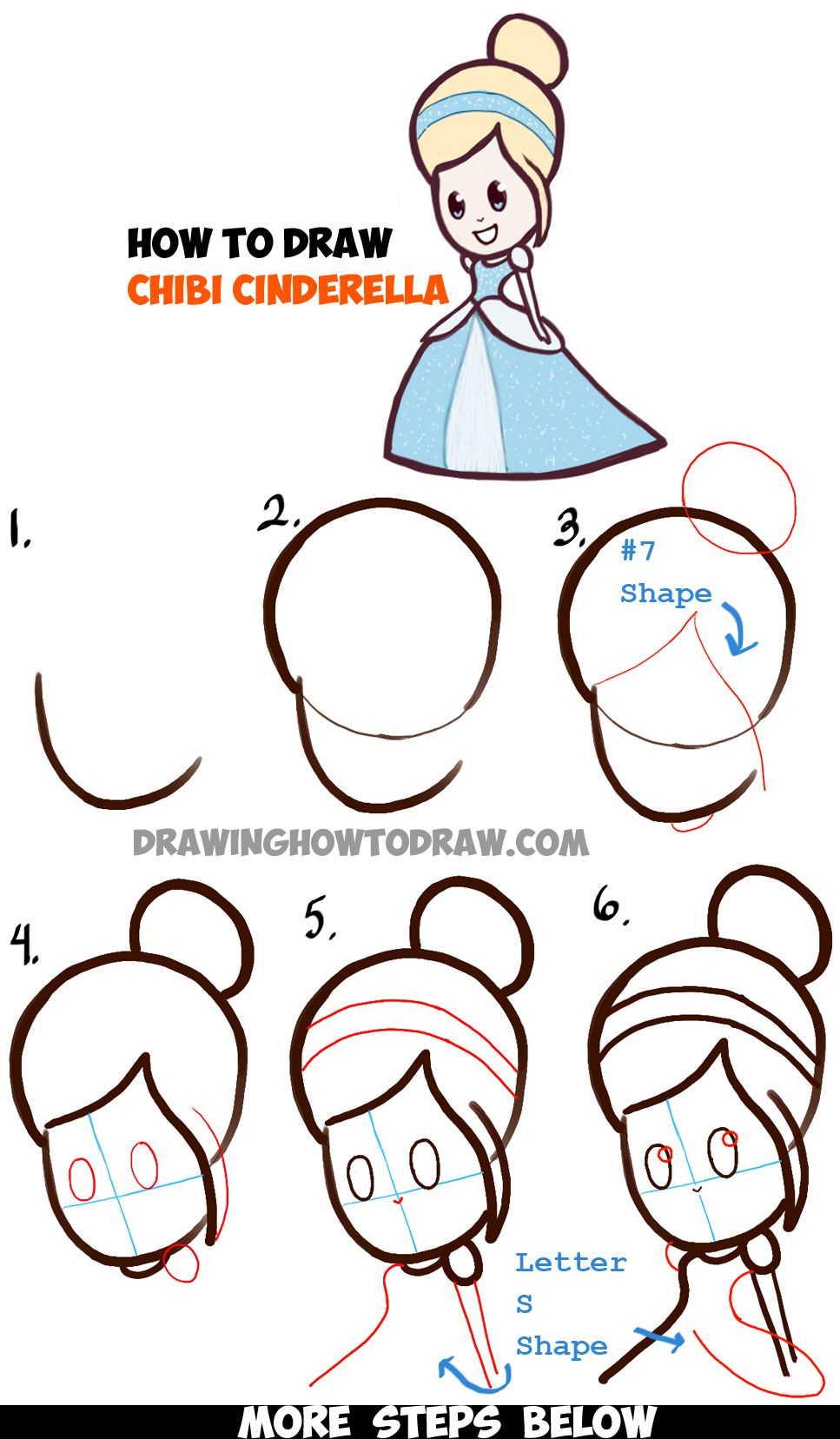 Learn How To Draw Cute Baby Chibi Cinderella  Simple Steps Drawing Lesson