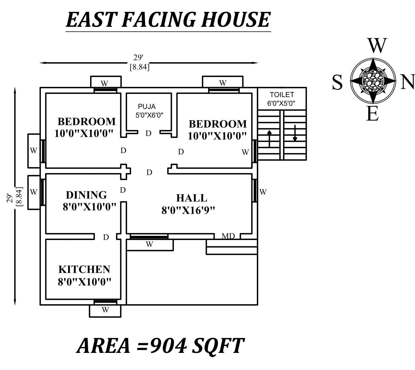 29x29 The Perfect 2bhk East Facing House Plan As Per Vastu Shastra Autocad Dwg 2bhk House Plan House Plans Small House Design Floor Plan