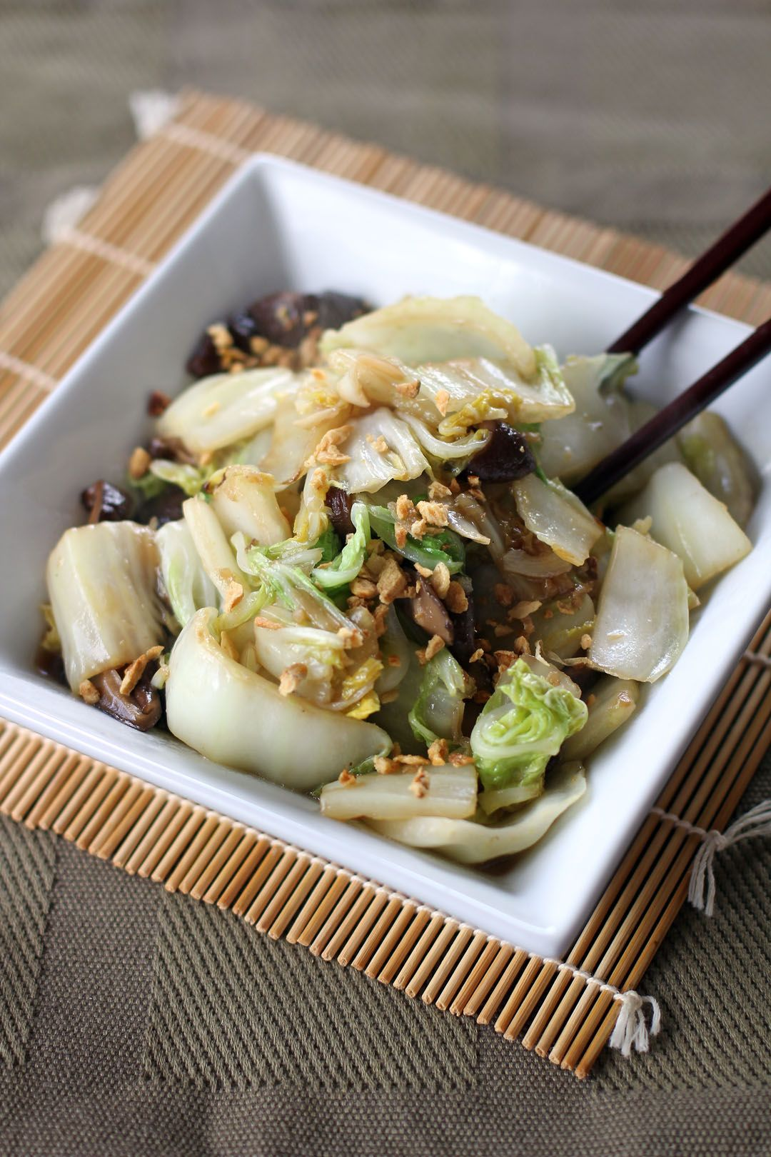 Stir Fried Chinese Cabbage And Shiitake Mushrooms Ang Sarap In 2020 Stuffed Mushrooms Tofu Dishes Cooking Recipes