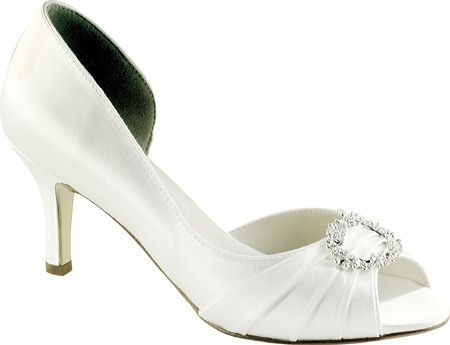 73a03a4652e Ivanna White Satin Dyeable Close Heel Open Toe Bridal Wedding Shoes in  Clothing