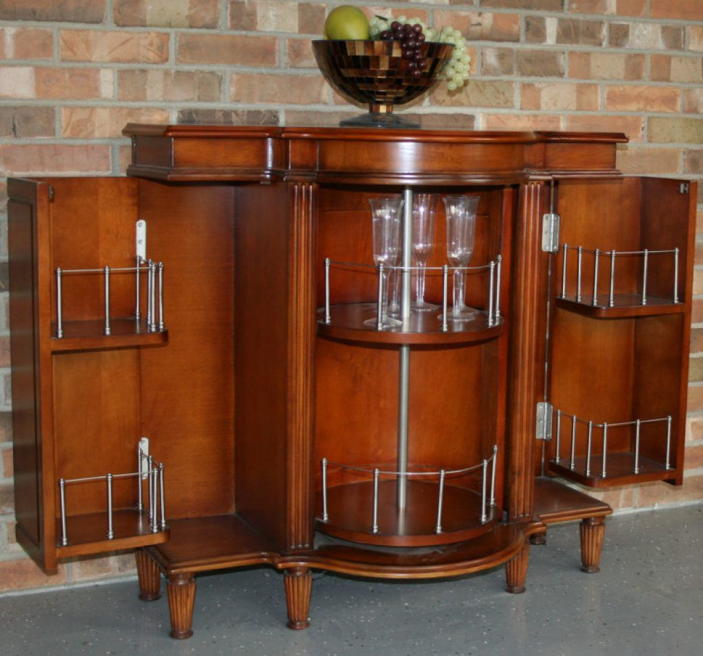 awesome light brown varnished oak home mini bar cabinet with fold away side shelves with bars