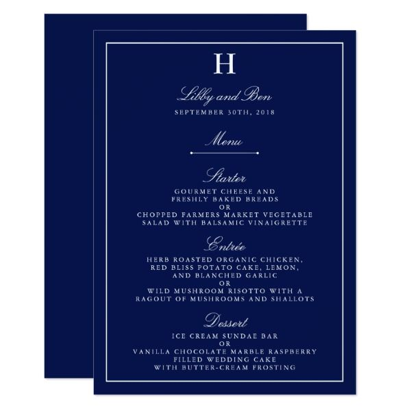 Chic Navy  White Wedding Menu Template Wedding menu template - bar menu template