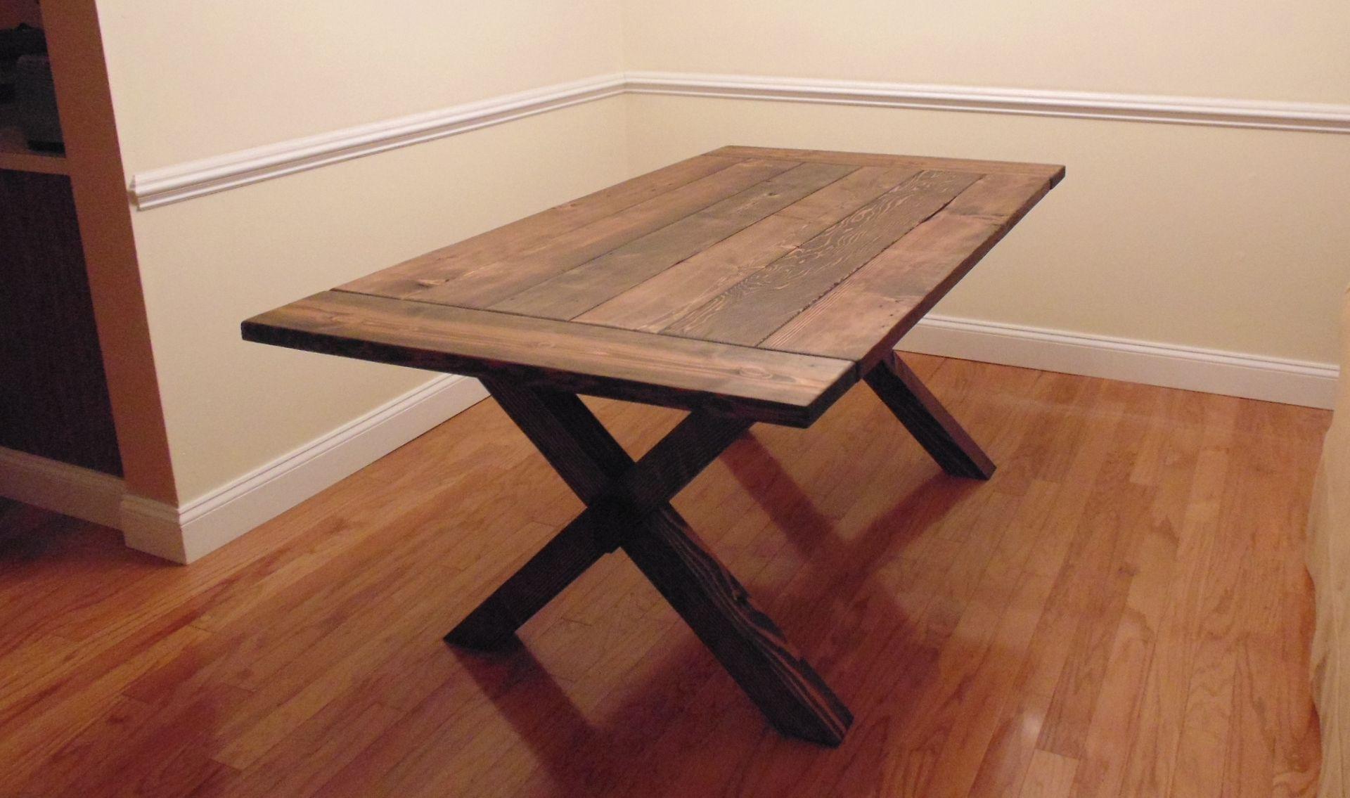 Custom Made Crossed Leg Trestle Style Farmhouse Table