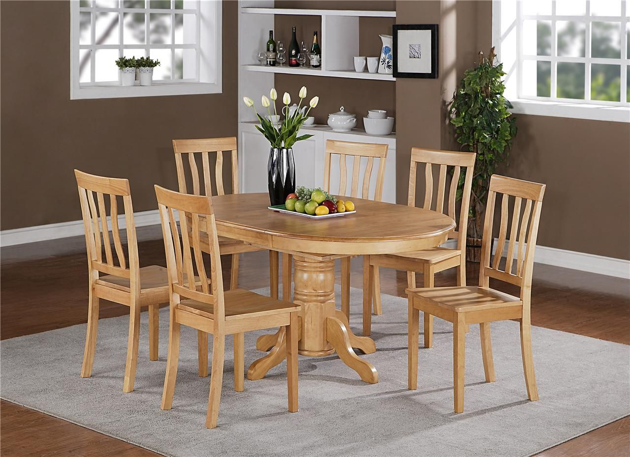 5pc oval dinette kitchen dining set table with 4 wood seat chairs