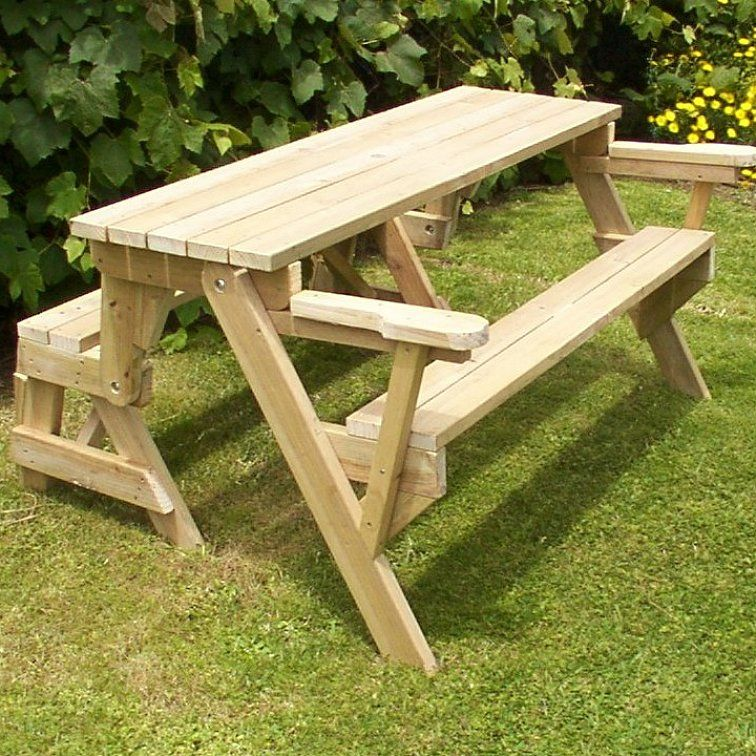 how to build a 1 piece folding picnic table folding picnic tables pinterest. Black Bedroom Furniture Sets. Home Design Ideas