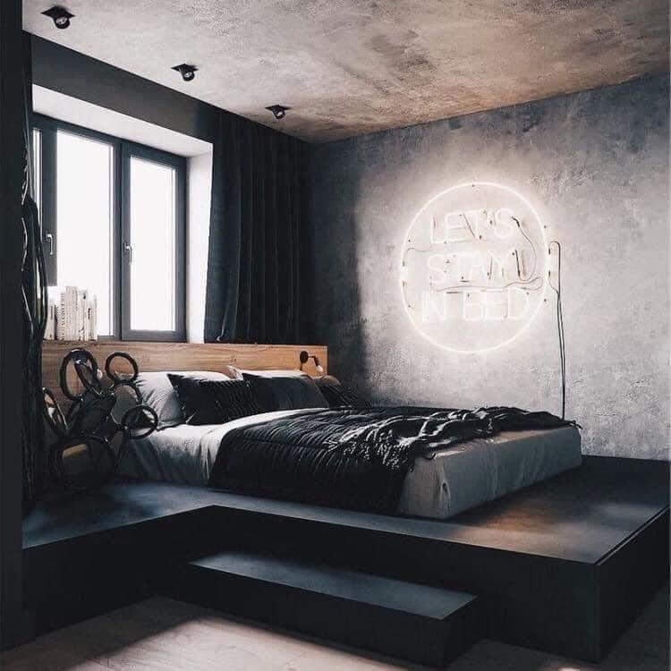 Black Bedroom Aesthetic in 2020 | Industrial bedroom ...
