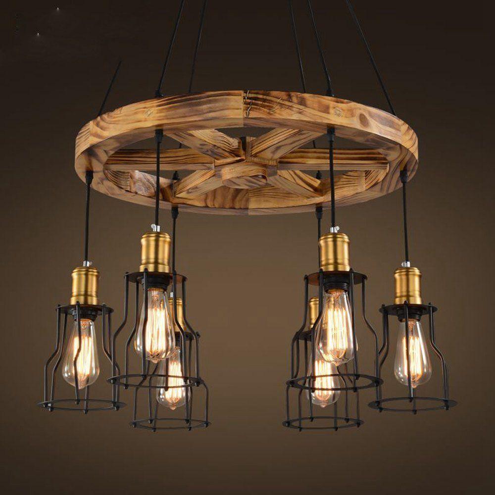 Vintage Holz Rad Metall Lampenschirm Bar Zahler Deckenleuchte Pendelleuchte American Loft Esszimmer Hangelampe Helm Restau Holzpendelleuchte Lampe Lampenschirm