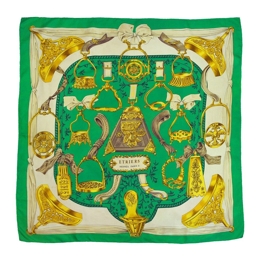 "Vintage HERMES ""Etriers"" Green Silk Scarf. We sell vintage ..."