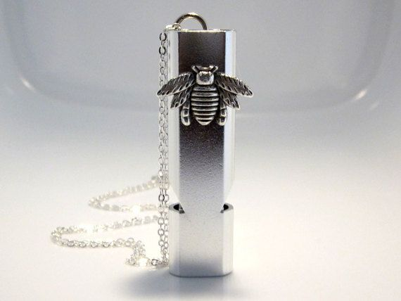Bee Whistle Necklace Silver Aluminum Alloy Water by AimeezArtz