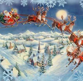 Santa Claus Reindeer Flying Across Sky Christmas Art Vintage Christmas Images Christmas Poster