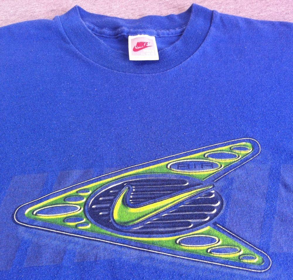 50a5d7cbbc3c1 Vintage NIKE Grey Tag 80s T-Shirt Neon Swoosh Blue 50/50 USA Made ...