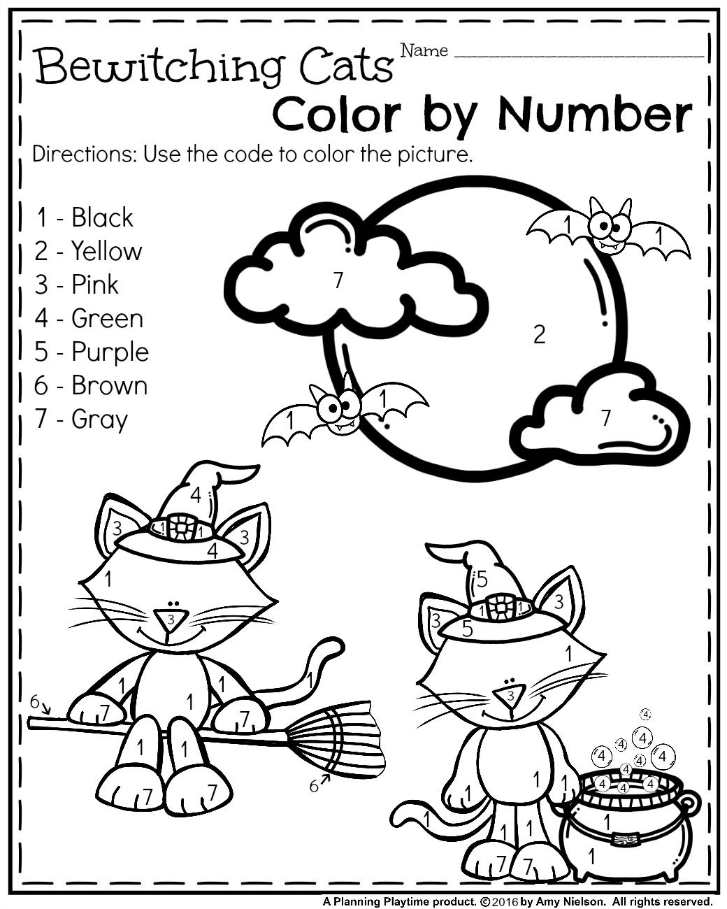 Math Halloween Worksheets Activity Color The Pumpkins
