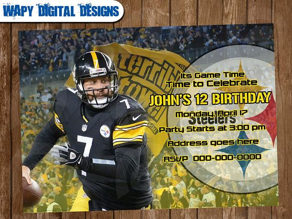 Pittsburgh Steelers Model 2 Digital Party invitation customize - birthday invitation model