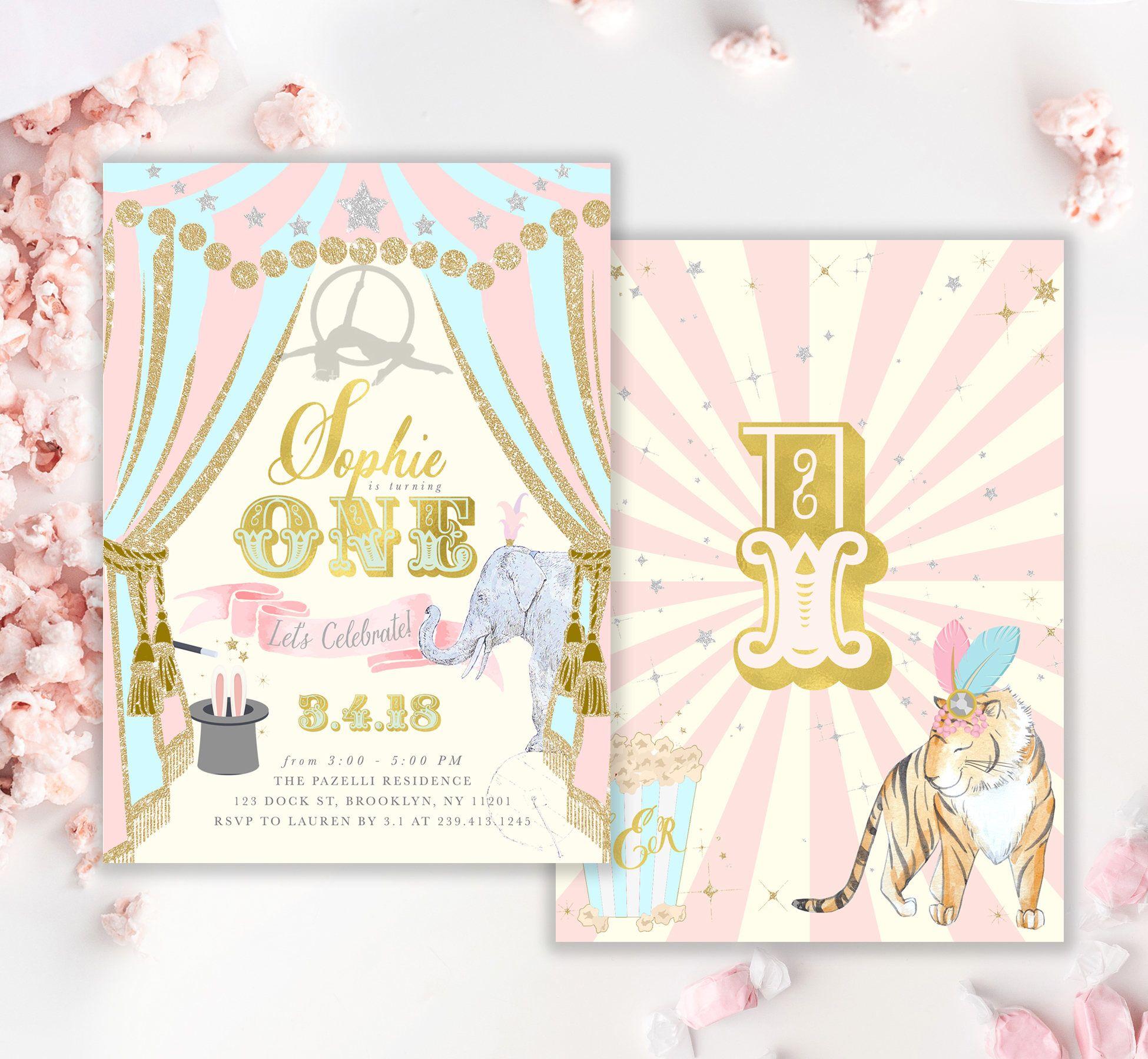 Circus Girl\'s First Birthday Invitation: Girl 1st Birthday Invite ...