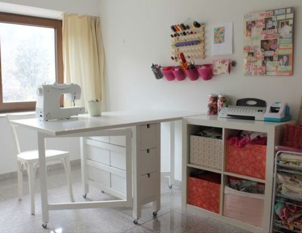 white Norden Gateleg table for a craft room