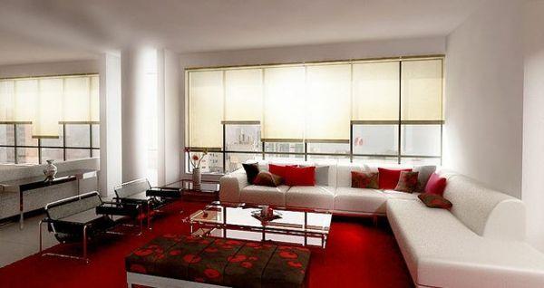 Wohnzimmer weiß rot Sofa Stoff Jalousien Glastisch Wohnzimmer