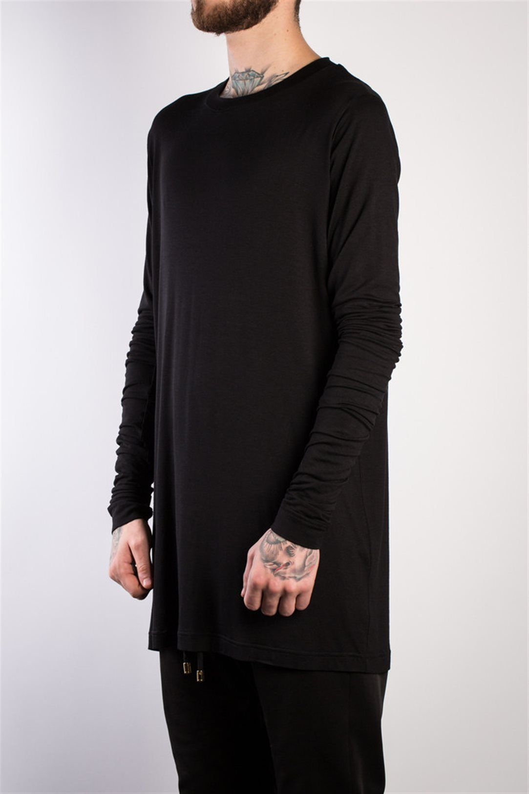 Black t shirt long sleeve - Adyn Black Tee Shirt With Long Sleeves And Thumb Holes Online Or In Store