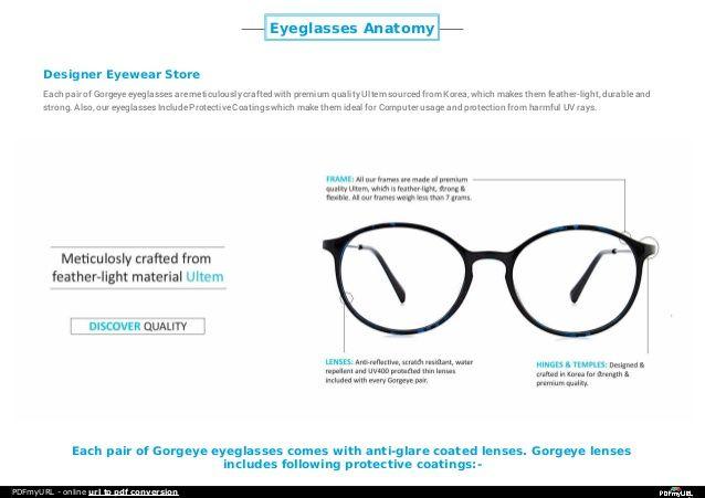 Eyeglasses Anatomy Designer Eyewear Store Each Pair Of Gorgeye