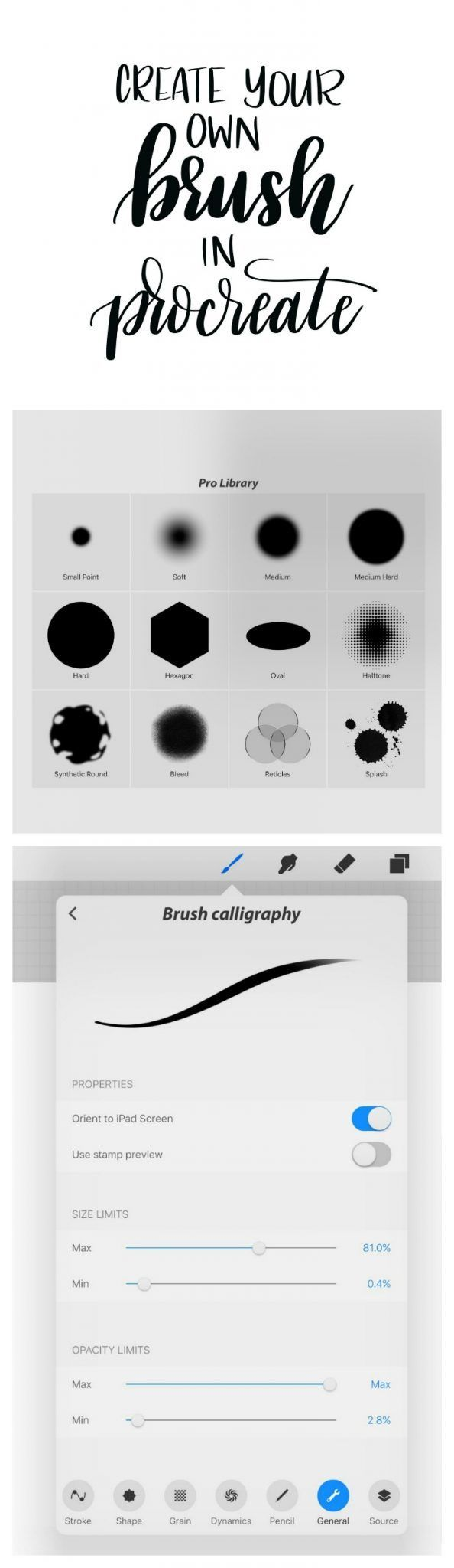 creating a brush lettering brush in proceate is part of Ipad lettering procreate - Creating a Brush Lettering Brush in Proceate Digitalart Beginner